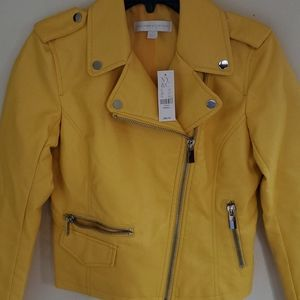 Nwt new York & company faux leather yellow jacket